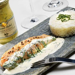 Thick salmon with Fallot Dijon Basil Mustard
